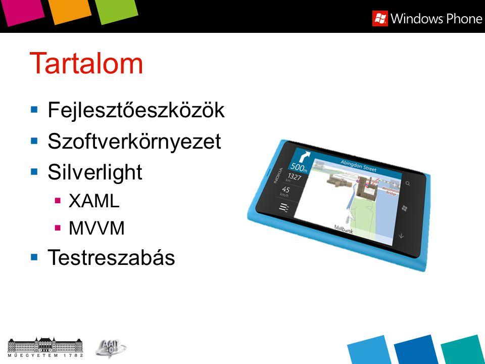 Tartalom  Fejlesztőeszközök  Szoftverkörnyezet  Silverlight  XAML  MVVM  Testreszabás