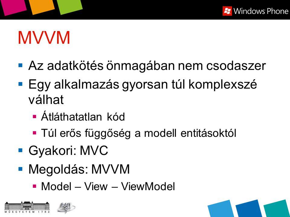 MVVM  Az adatkötés önmagában nem csodaszer  Egy alkalmazás gyorsan túl komplexszé válhat  Átláthatatlan kód  Túl erős függőség a modell entitásoktól  Gyakori: MVC  Megoldás: MVVM  Model – View – ViewModel