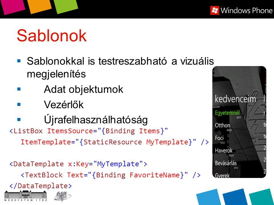 Sablonok  Sablonokkal is testreszabható a vizuális megjelenítés  Adat objektumok  Vezérlők  Újrafelhasználhatóság <ListBox ItemsSource= {Binding Items} ItemTemplate= {StaticResource MyTemplate} />