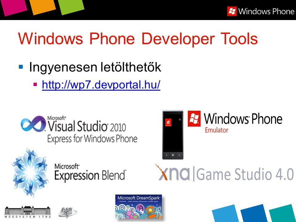 Windows Phone Developer Tools  Ingyenesen letölthetők  http://wp7.devportal.hu/ http://wp7.devportal.hu/