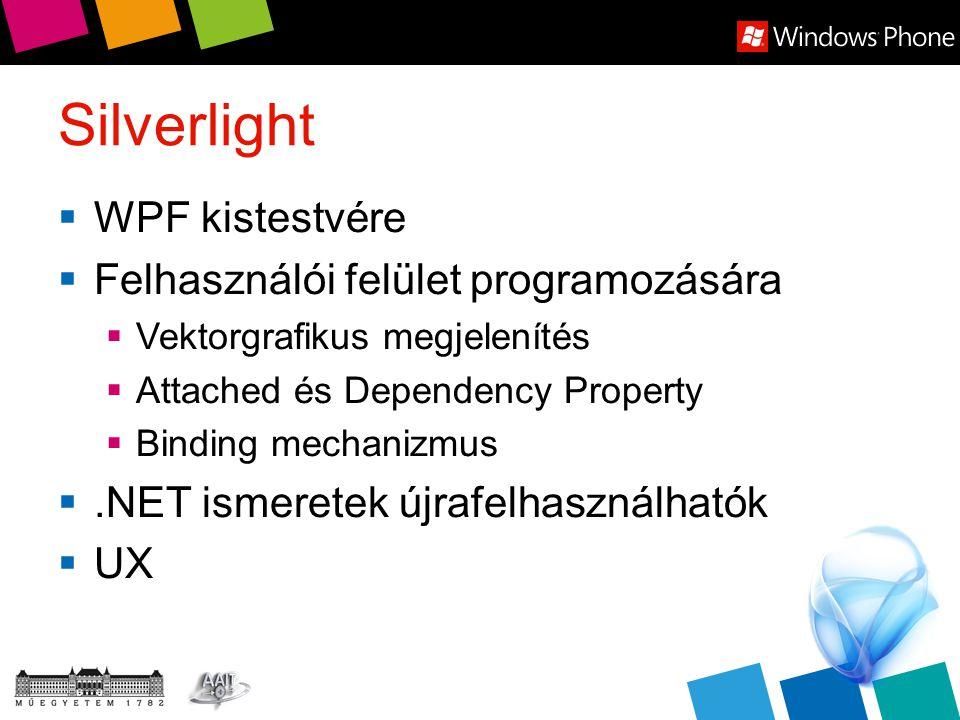 Silverlight  WPF kistestvére  Felhasználói felület programozására  Vektorgrafikus megjelenítés  Attached és Dependency Property  Binding mechaniz