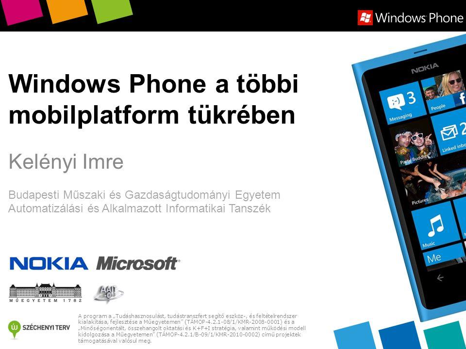 Push notification  iOS: Push Notification Service  Alkalmazásonként 1 üzenetet tárol ha a készülék offline  Max 256 byte/üzenet, nincs üzenetszám korlát  Android: Cloud to Device Messaging (C2DM)  Max 1 KB/üzenet, 200.000 üzenet/nap  Windows Phone: Microsoft Push Notification Service  Max 3 KB/üzenet  Unathorized: 500 üzenet/nap, authorized: nincs korlát  Késleltetés hasonló mindhárom platformon  Szubjektív sorrend: Android < WP < iOS 12