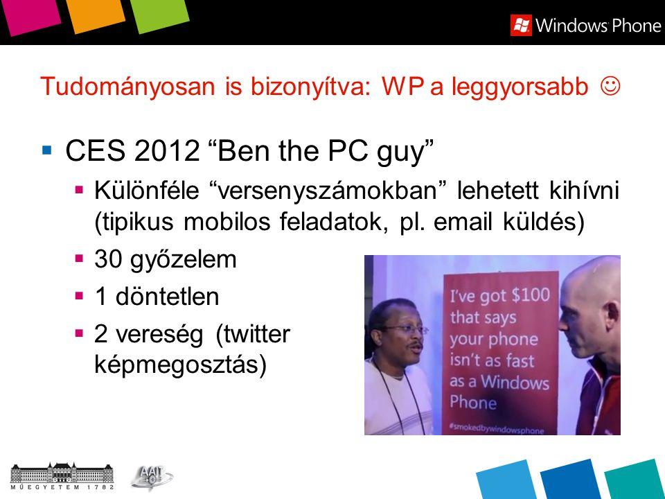 Tudományosan is bizonyítva: WP a leggyorsabb  CES 2012 Ben the PC guy  Különféle versenyszámokban lehetett kihívni (tipikus mobilos feladatok, pl.