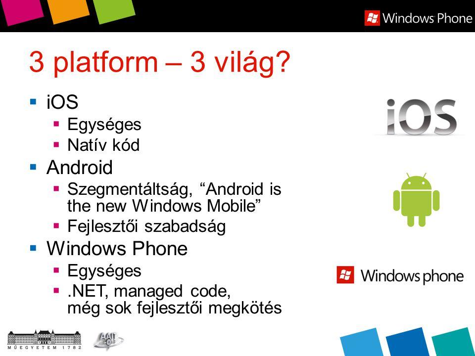 Összefoglalás  A Windows Phone a legfrissebb platformként jól átvette a többi platform bevált tulajdonságait  UI terén nagyon más  A fejlesztői eszközök egyre bővülnek  Teljesítményben élmezőnyben van  Szegmentáltság nem gond, de ki tudja meddig?