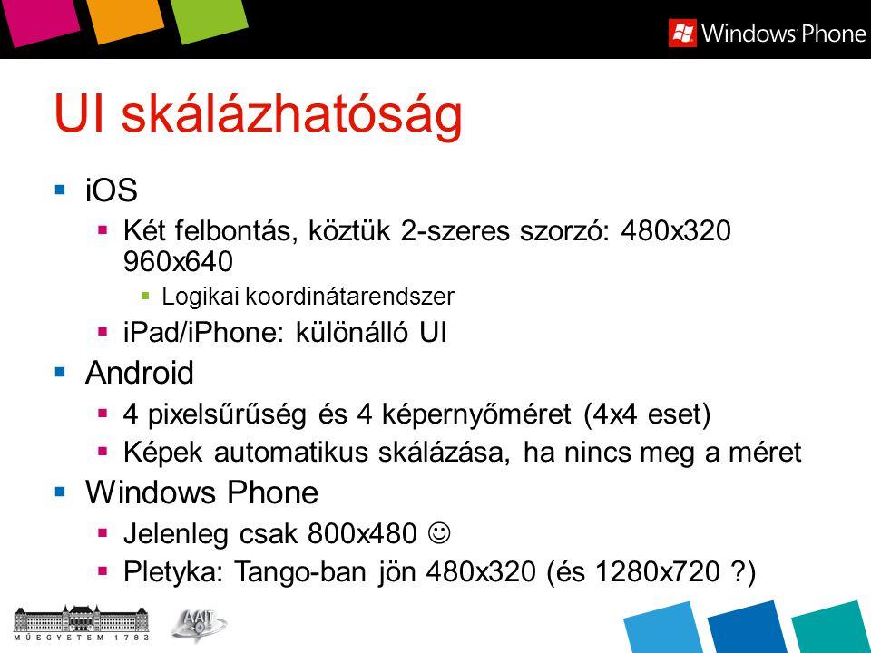 UI skálázhatóság  iOS  Két felbontás, köztük 2-szeres szorzó: 480x320 960x640  Logikai koordinátarendszer  iPad/iPhone: különálló UI  Android  4 pixelsűrűség és 4 képernyőméret (4x4 eset)  Képek automatikus skálázása, ha nincs meg a méret  Windows Phone  Jelenleg csak 800x480  Pletyka: Tango-ban jön 480x320 (és 1280x720 )