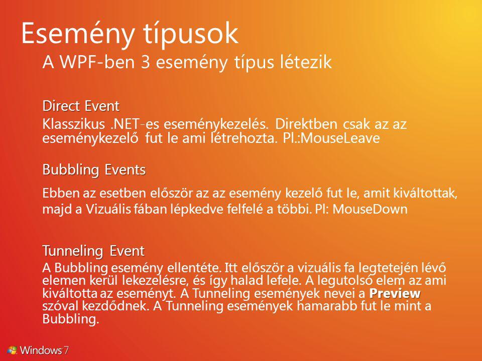 A WPF-ben 3 esemény típus létezik Direct Event Klasszikus.NET-es eseménykezelés. Direktben csak az az eseménykezelő fut le ami létrehozta. Pl.:MouseLe