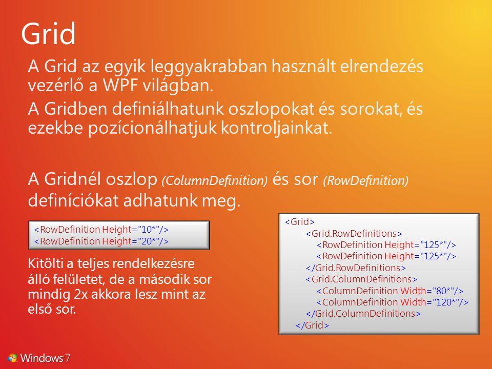 A Grid az egyik leggyakrabban használt elrendezés vezérlő a WPF világban. A Gridben definiálhatunk oszlopokat és sorokat, és ezekbe pozícionálhatjuk k