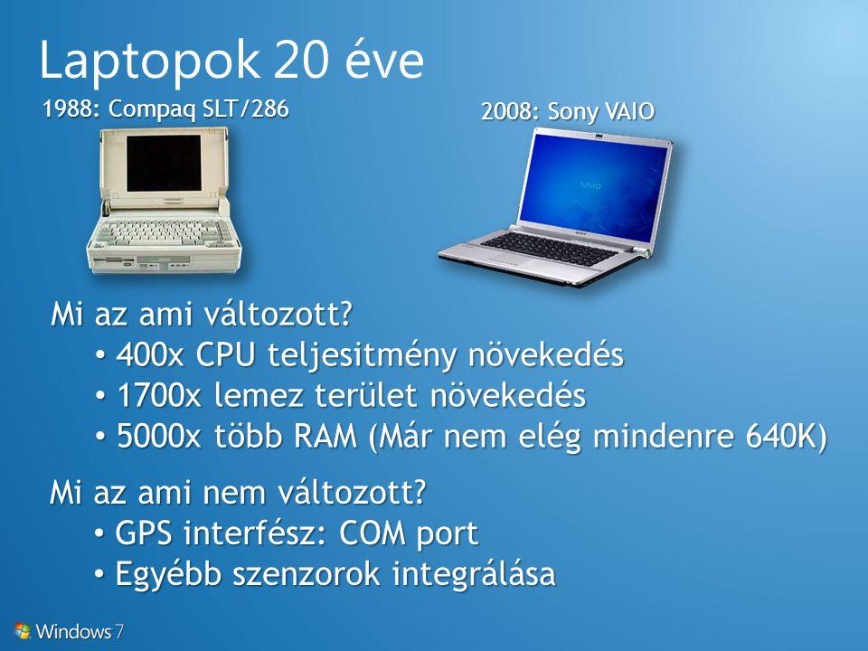 1988: Compaq SLT/286 2008: Sony VAIO Mi az ami változott? 400x CPU teljesitmény növekedés 400x CPU teljesitmény növekedés 1700x lemez terület növekedé