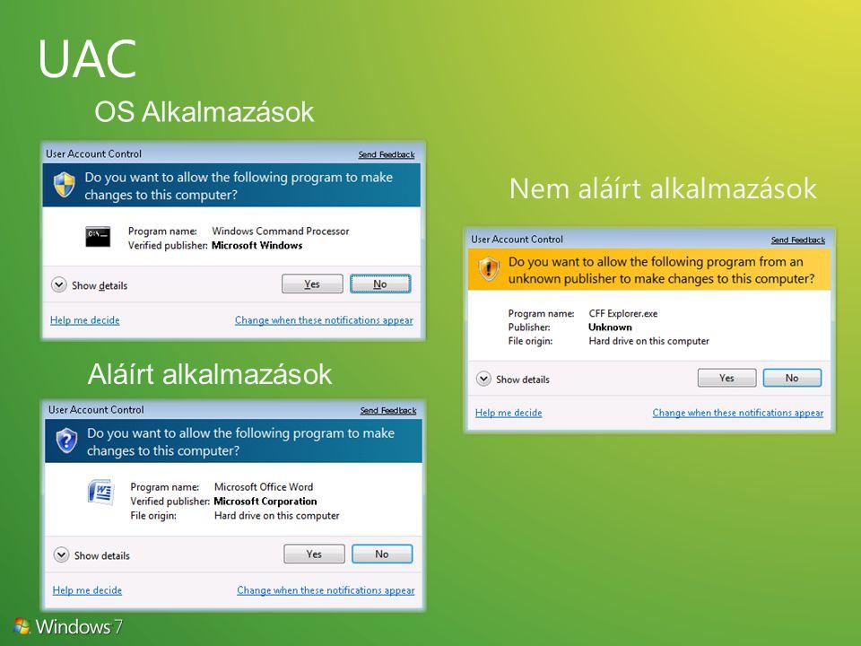 OS Alkalmazások Nem aláírt alkalmazások Aláírt alkalmazások