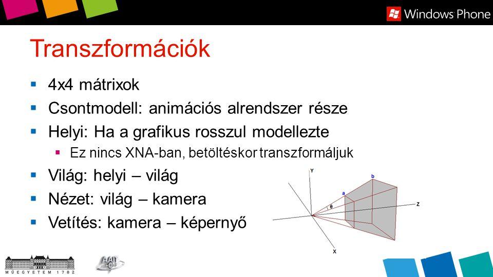 Transzformációk  4x4 mátrixok  Csontmodell: animációs alrendszer része  Helyi: Ha a grafikus rosszul modellezte  Ez nincs XNA-ban, betöltéskor transzformáljuk  Világ: helyi – világ  Nézet: világ – kamera  Vetítés: kamera – képernyő