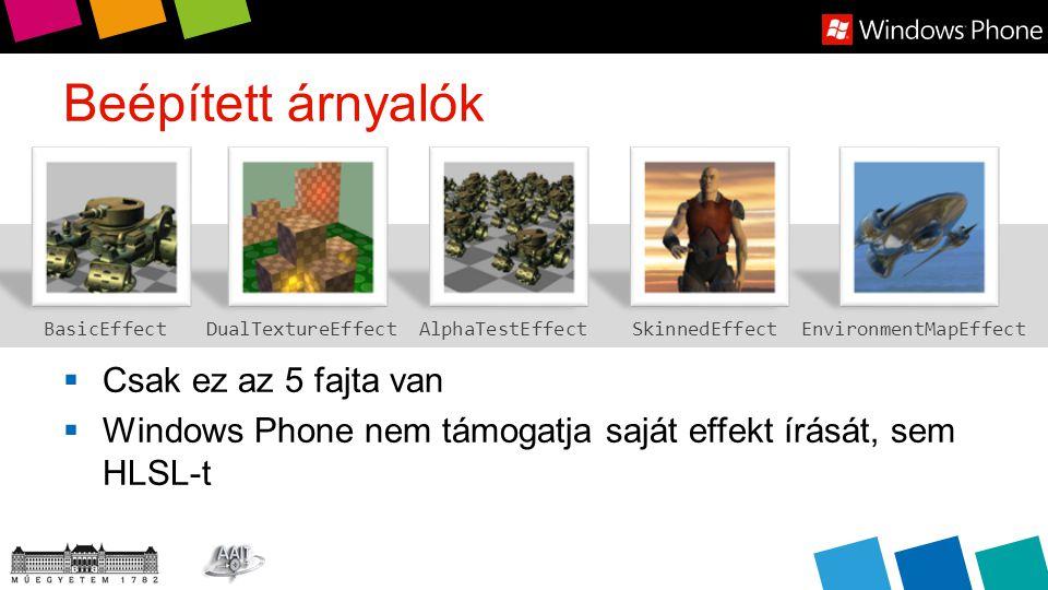 Beépített árnyalók  Csak ez az 5 fajta van  Windows Phone nem támogatja saját effekt írását, sem HLSL-t BasicEffectSkinnedEffectEnvironmentMapEffectAlphaTestEffectDualTextureEffect