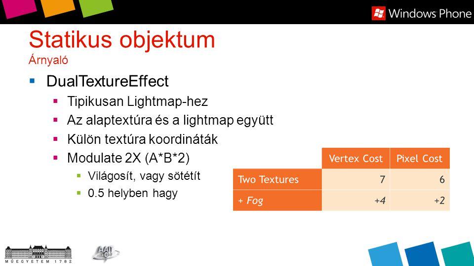 Statikus objektum Árnyaló  DualTextureEffect  Tipikusan Lightmap-hez  Az alaptextúra és a lightmap együtt  Külön textúra koordináták  Modulate 2X (A*B*2)  Világosít, vagy sötétít  0.5 helyben hagy