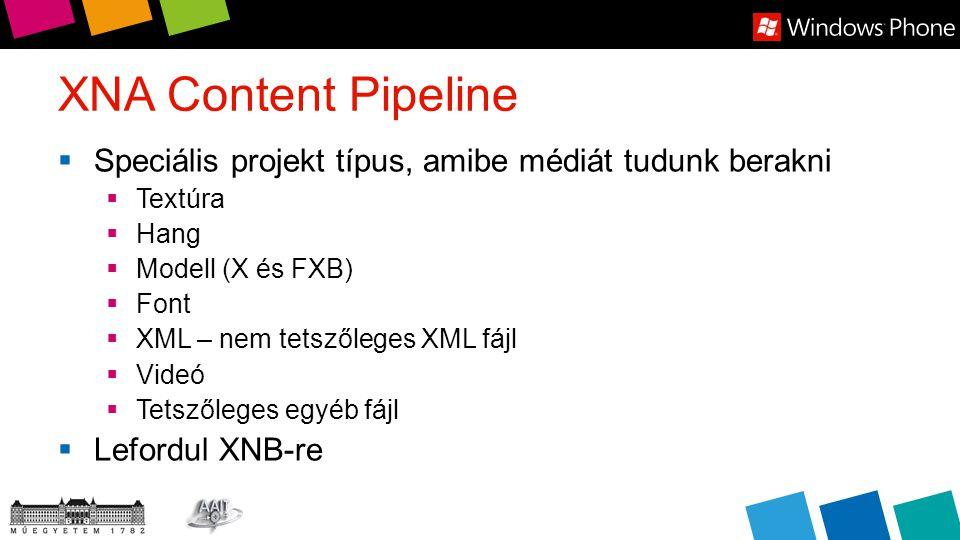 XNA Content Pipeline  Speciális projekt típus, amibe médiát tudunk berakni  Textúra  Hang  Modell (X és FXB)  Font  XML – nem tetszőleges XML fájl  Videó  Tetszőleges egyéb fájl  Lefordul XNB-re