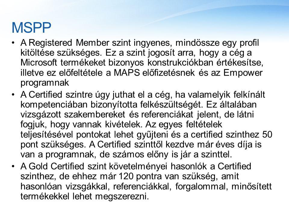 MSPP A Registered Member szint ingyenes, mindössze egy profil kitöltése szükséges. Ez a szint jogosít arra, hogy a cég a Microsoft termékeket bizonyos