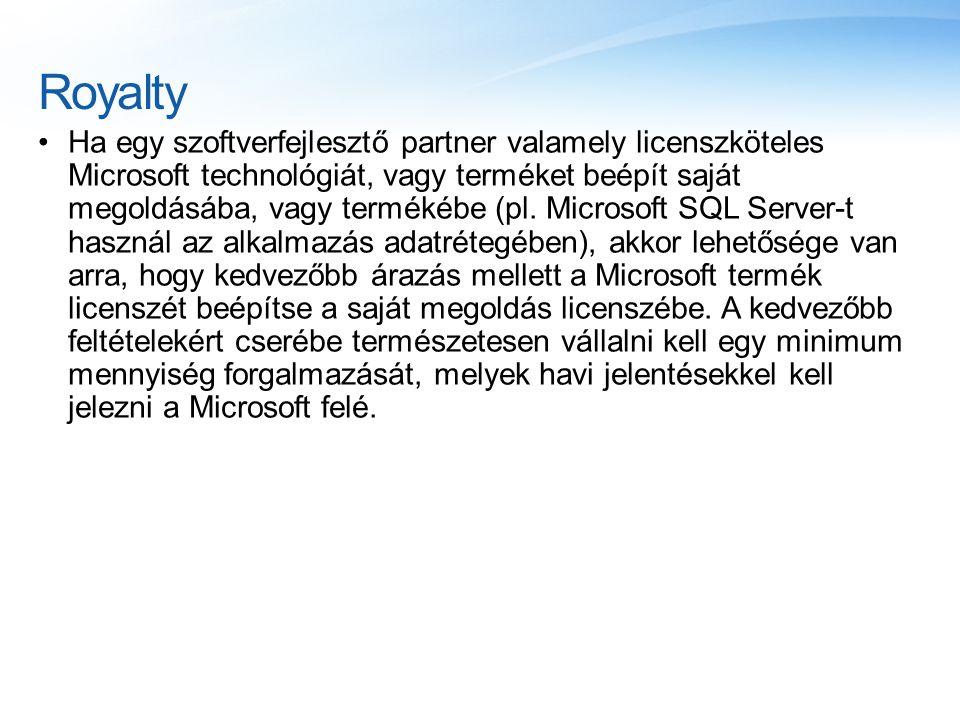Royalty Ha egy szoftverfejlesztő partner valamely licenszköteles Microsoft technológiát, vagy terméket beépít saját megoldásába, vagy termékébe (pl. M