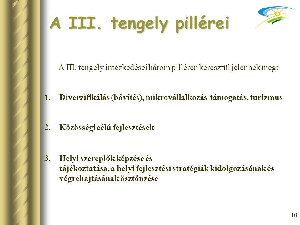 10 A III. tengely pillérei A III. tengely intézkedései három pilléren keresztül jelennek meg: 1.Diverzifikálás (bővítés), mikrovállalkozás-támogatás,