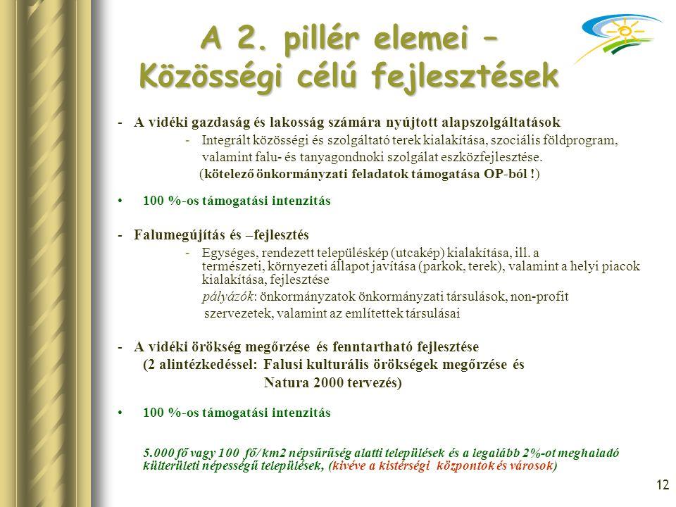 12 A 2. pillér elemei – Közösségi célú fejlesztések - A vidéki gazdaság és lakosság számára nyújtott alapszolgáltatások -Integrált közösségi és szolgá