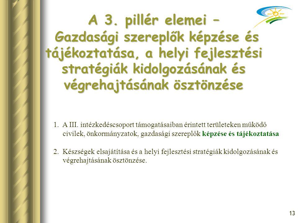 13 A 3. pillér elemei – Gazdasági szereplők képzése és tájékoztatása, a helyi fejlesztési stratégiák kidolgozásának és végrehajtásának ösztönzése 1. A