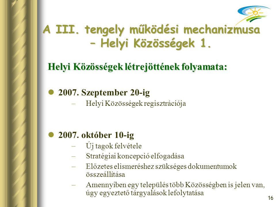 16 A III. tengely működési mechanizmusa – Helyi Közösségek 1. Helyi Közösségek létrejöttének folyamata: 2007. Szeptember 20-ig –Helyi Közösségek regis