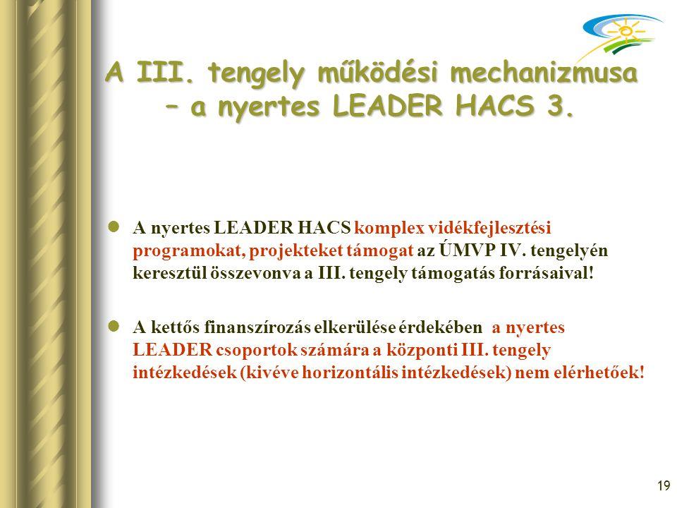 19 A III. tengely működési mechanizmusa – a nyertes LEADER HACS 3. A nyertes LEADER HACS komplex vidékfejlesztési programokat, projekteket támogat az