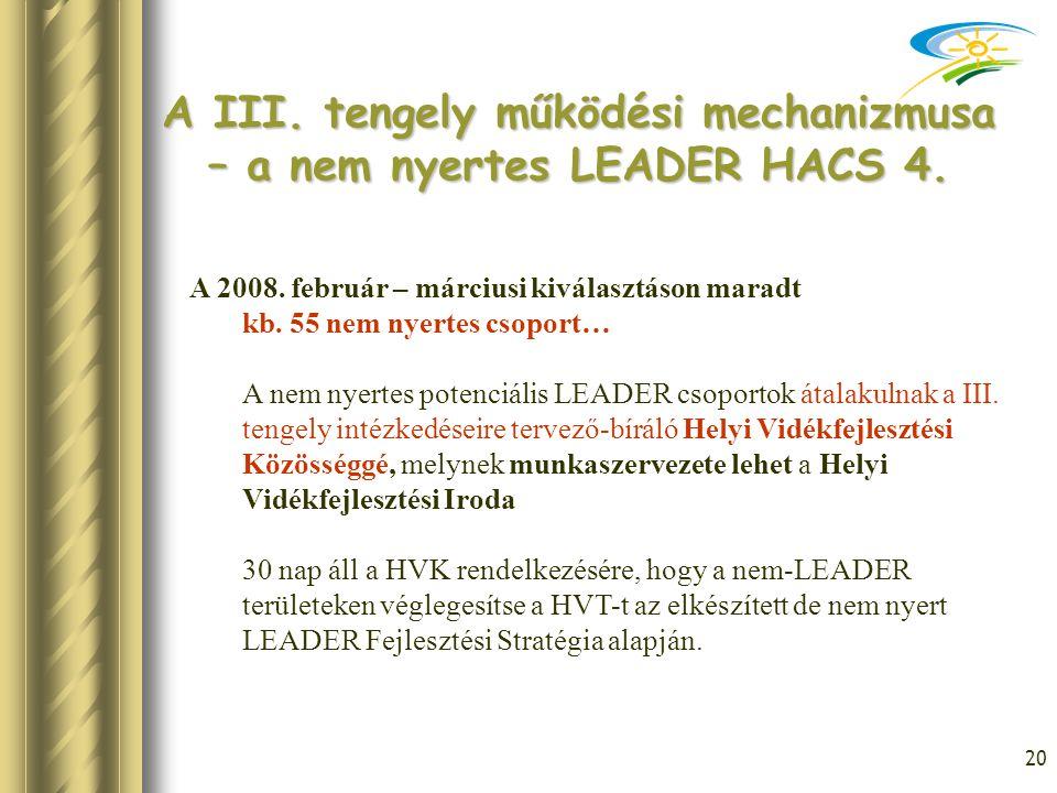20 A III. tengely működési mechanizmusa – a nem nyertes LEADER HACS 4. A 2008. február – márciusi kiválasztáson maradt kb. 55 nem nyertes csoport… A n