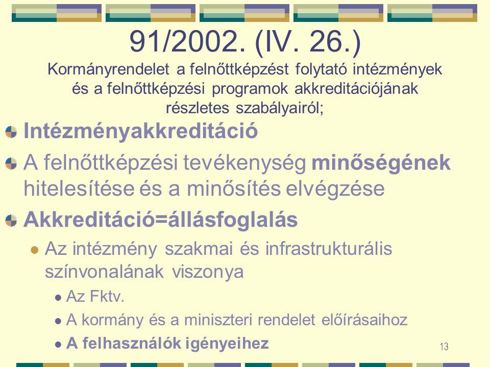 12 Miniszteri rendelet az akkreditációs eljárás és követelményrendszerről OM, egy rendelet – négy részből Áe. keretei között Két-két szakértő, egymást