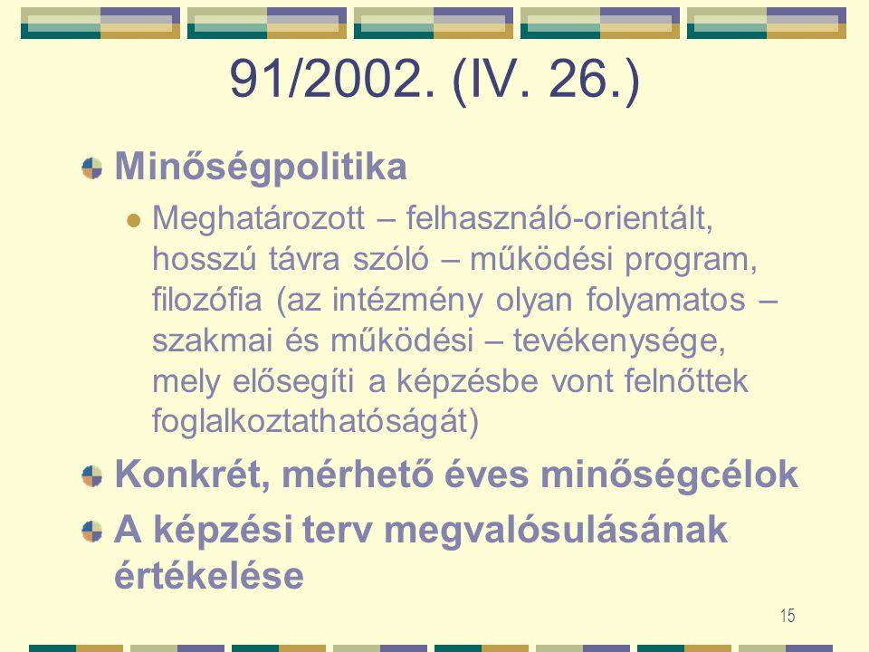 14 91/2002. (IV. 26.) Akkreditáció=vizsgálat Az intézmény szervezeti, személyi és infrastrukturális feltételei biztosítják-e képzés színvonalas (minős