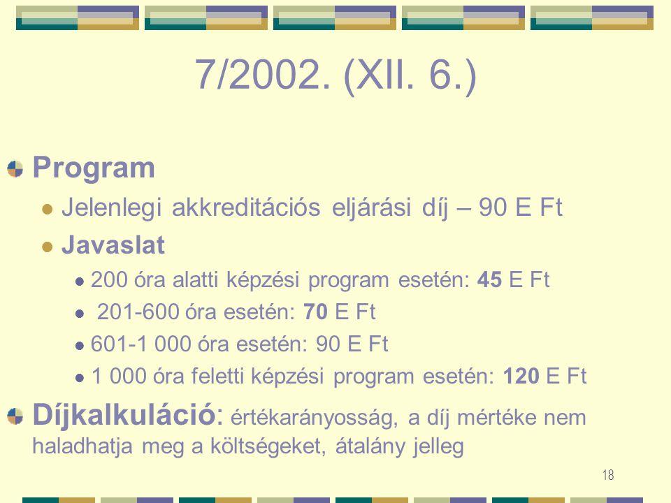 17 7/2002. (XII. 6.) FMM rendelet a felnőttképzést folytató intézmények és a felnőttképzési programok akkreditációs eljárási díjának mértékéről és fel