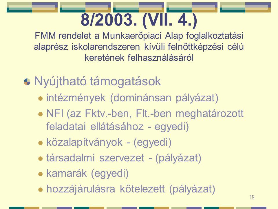 18 7/2002. (XII. 6.) Program Jelenlegi akkreditációs eljárási díj – 90 E Ft Javaslat 200 óra alatti képzési program esetén: 45 E Ft 201-600 óra esetén