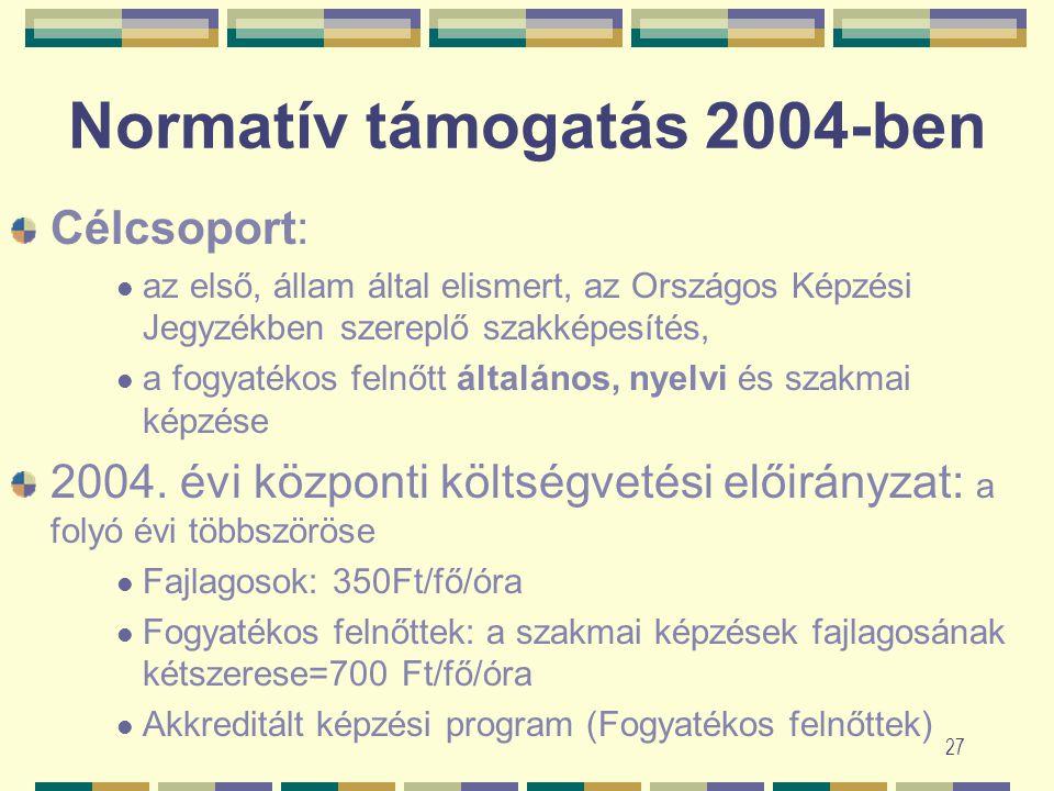 26 Normatív támogatás helyett 8/2003. (VII. 4.) FMM rendelet szerint Pályázati felhívás (várhatóan): 2003 október Pályázat: NFI, honlap Felhasználás: