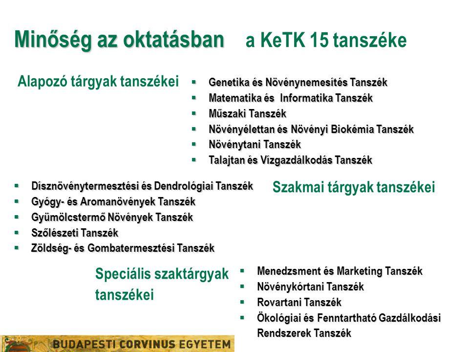 Minőség az oktatásban Minőség az oktatásban a KeTK 15 tanszéke  Genetika és Növénynemesítés Tanszék  Matematika és Informatika Tanszék  Műszaki Tan