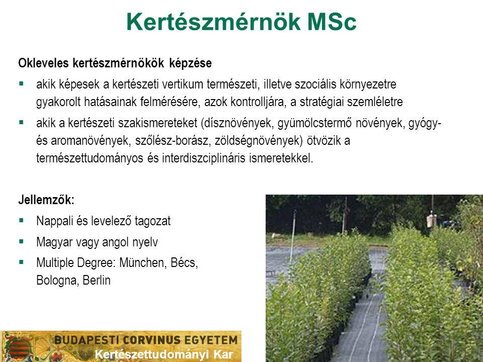 Kertészmérnök MSc Okleveles kertészmérnökök képzése  akik képesek a kertészeti vertikum természeti, illetve szociális környezetre gyakorolt hatásaina