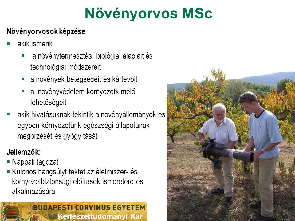 Növényorvos MSc Növényorvosok képzése  akik ismerik  a növénytermesztés biológiai alapjait és technológiai módszereit  a növények betegségeit és ká