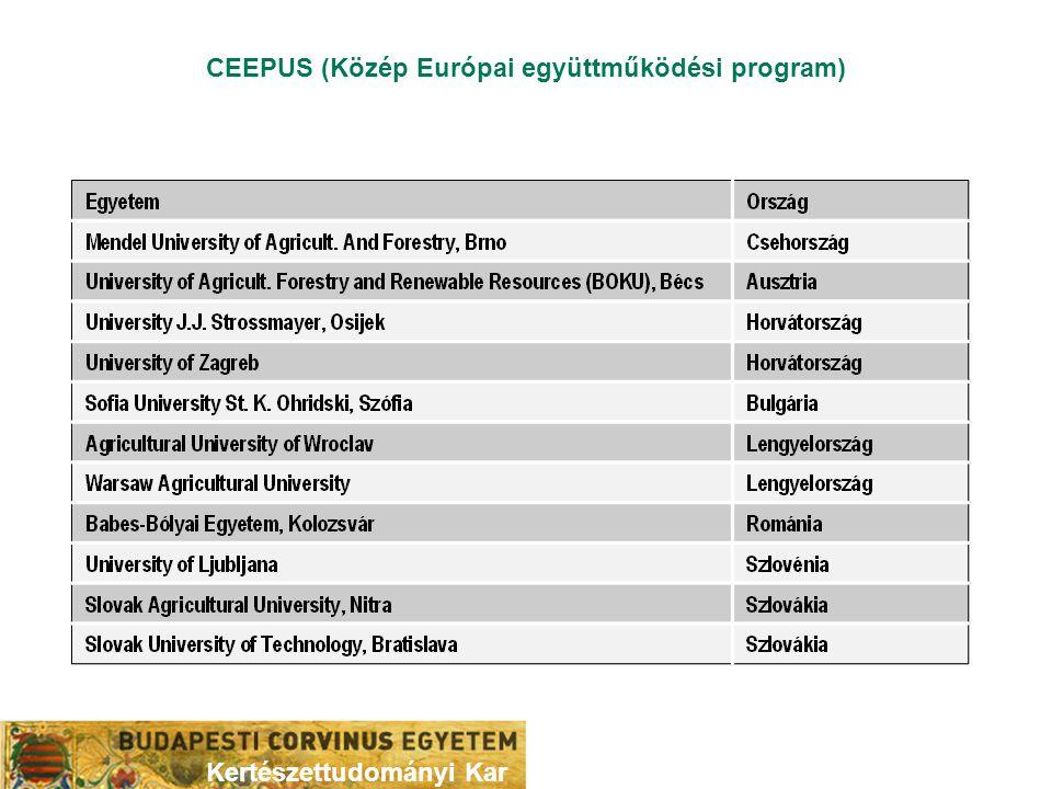 CEEPUS (Közép Európai együttműködési program) Kertészettudományi Kar