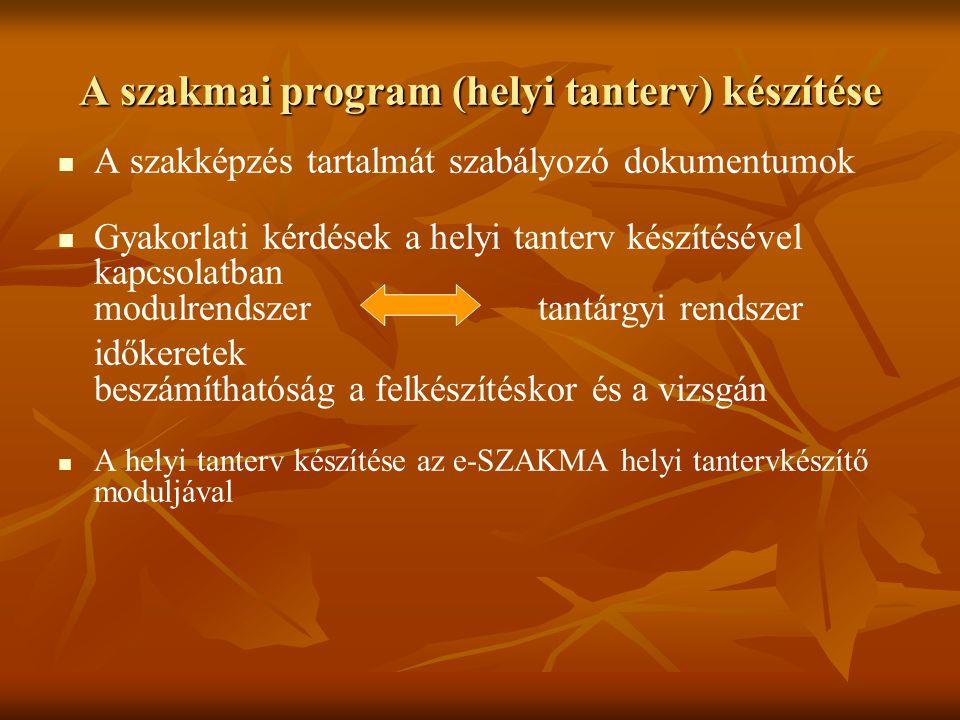 A szakmai program (helyi tanterv) készítése A szakképzés tartalmát szabályozó dokumentumok Gyakorlati kérdések a helyi tanterv készítésével kapcsolatb