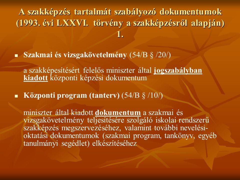 A szakképzés tartalmát szabályozó dokumentumok (1993. évi LXXVI. törvény a szakképzésről alapján) 1. Szakmai és vizsgakövetelmény (54/B § /20/) a szak