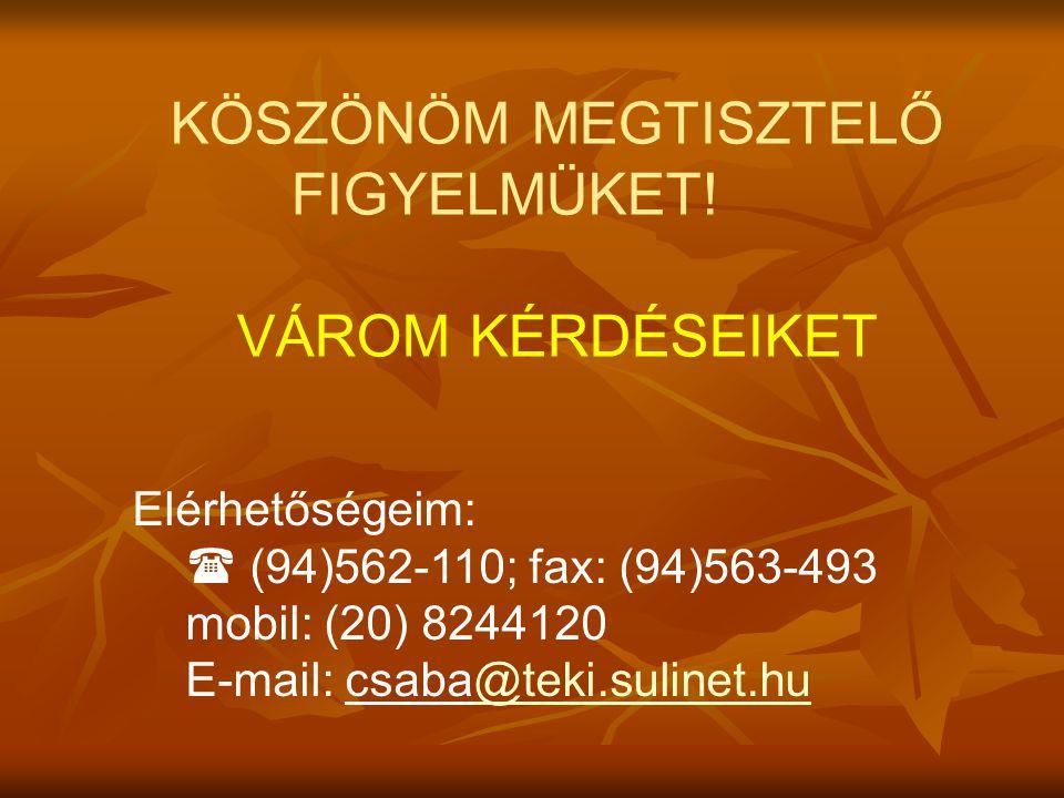 KÖSZÖNÖM MEGTISZTELŐ FIGYELMÜKET! VÁROM KÉRDÉSEIKET Elérhetőségeim:  (94)562-110; fax: (94)563-493 mobil: (20) 8244120 E-mail: csaba@teki.sulinet.hu@
