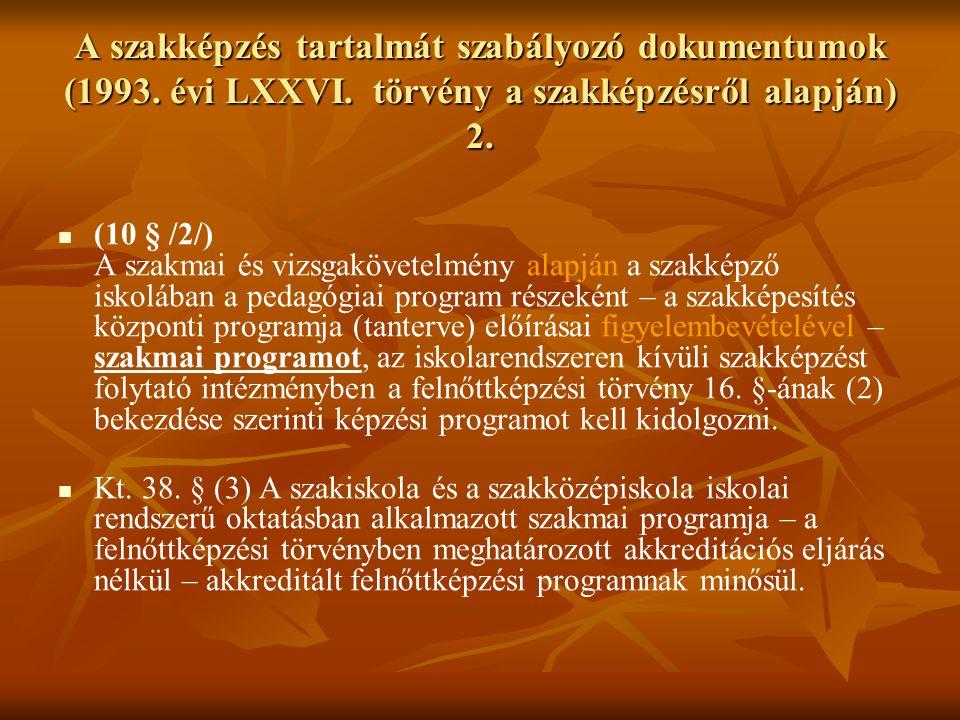 A szakképzés tartalmát szabályozó dokumentumok (1993. évi LXXVI. törvény a szakképzésről alapján) 2. (10 § /2/) A szakmai és vizsgakövetelmény alapján