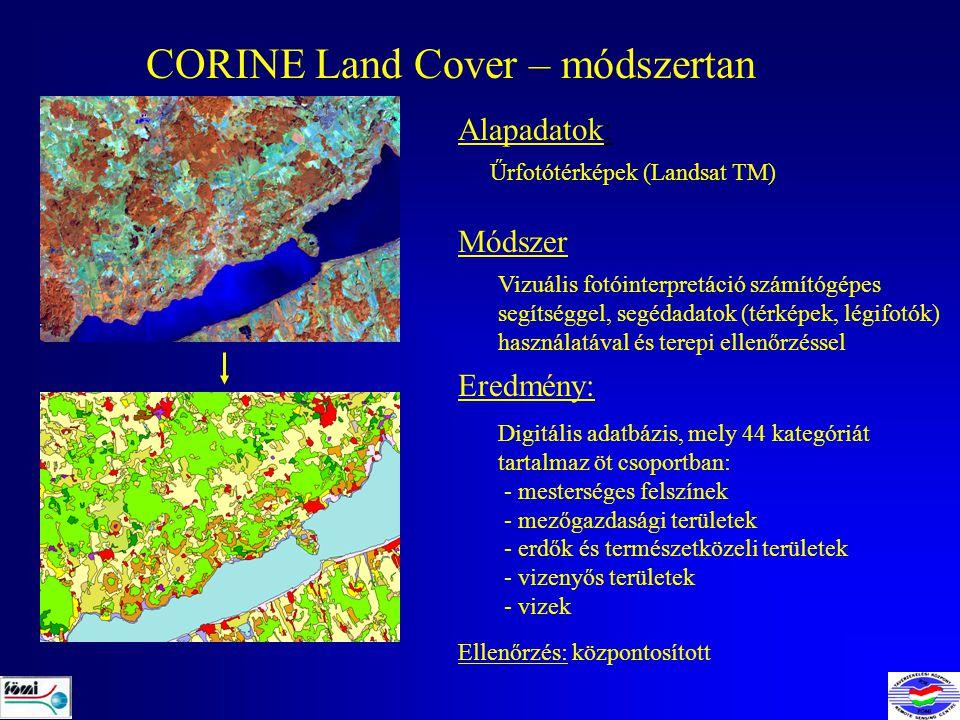 CORINE Land Cover – módszertan Alapadatok: Űrfotótérképek (Landsat TM) Módszer Eredmény: Ellenőrzés: központosított Vizuális fotóinterpretáció számítógépes segítséggel, segédadatok (térképek, légifotók) használatával és terepi ellenőrzéssel Digitális adatbázis, mely 44 kategóriát tartalmaz öt csoportban: - mesterséges felszínek - mezőgazdasági területek - erdők és természetközeli területek - vizenyős területek - vizek