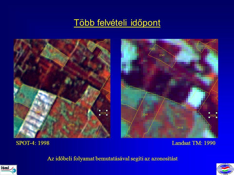 Több felvételi időpont SPOT-4: 1998Landsat TM: 1990 Az időbeli folyamat bemutatásával segíti az azonosítást