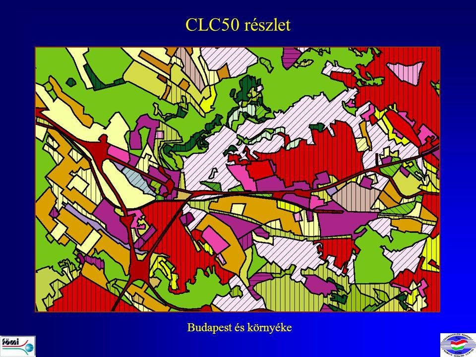 CLC50 ALKALMAZÁSOK CORINE Élőhely térképezés (MTA ÖBKI, Vácrátót) Tó kataszter létrehozása az EU VKI hazai bevezetéséhez (KöViM) Hazai IBA (Important Bird Areas) területek elemzése (Magyar Természettudományi Múzeum) Agrárkörnyezetvédelmi változás indikátorok számítása (ETC-TE) A standard CLC100 adatbázis felújítása (EEA, CLC2000 projekt) Adatszolgáltatás KSH-nak (beépített területek, vizek) ….