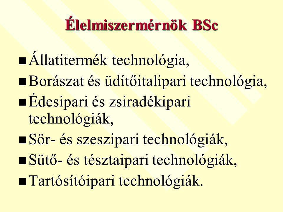 Állatitermék technológia, Állatitermék technológia, Borászat és üdítőitalipari technológia, Borászat és üdítőitalipari technológia, Édesipari és zsiradékipari technológiák, Édesipari és zsiradékipari technológiák, Sör- és szeszipari technológiák, Sör- és szeszipari technológiák, Sütő- és tésztaipari technológiák, Sütő- és tésztaipari technológiák, Tartósítóipari technológiák.