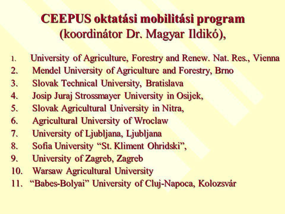 CEEPUS oktatási mobilitási program (koordinátor Dr.
