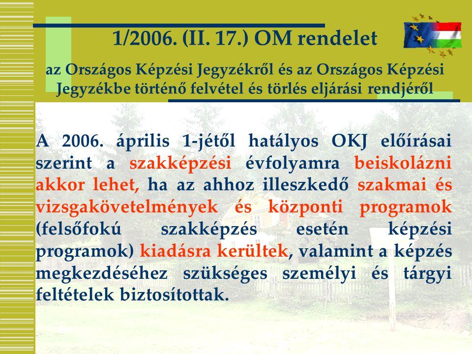 A 2006. április 1-jétől hatályos OKJ előírásai szerint a szakképzési évfolyamra beiskolázni akkor lehet, ha az ahhoz illeszkedő szakmai és vizsgakövet