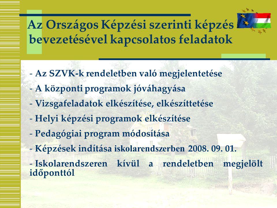 Az Országos Képzési szerinti képzés bevezetésével kapcsolatos feladatok - Az SZVK-k rendeletben való megjelentetése - A központi programok jóváhagyása