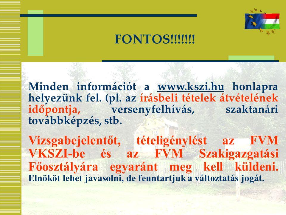 FONTOS!!!!!!! Minden információt a www.kszi.hu honlapra helyezünk fel. (pl. az írásbeli tételek átvételének időpontja, versenyfelhívás, szaktanári tov