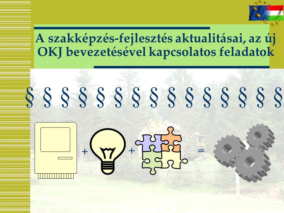 A szakképzés-fejlesztés aktualitásai, az új OKJ bevezetésével kapcsolatos feladatok § § § § § § § § § § § § § § § + +=