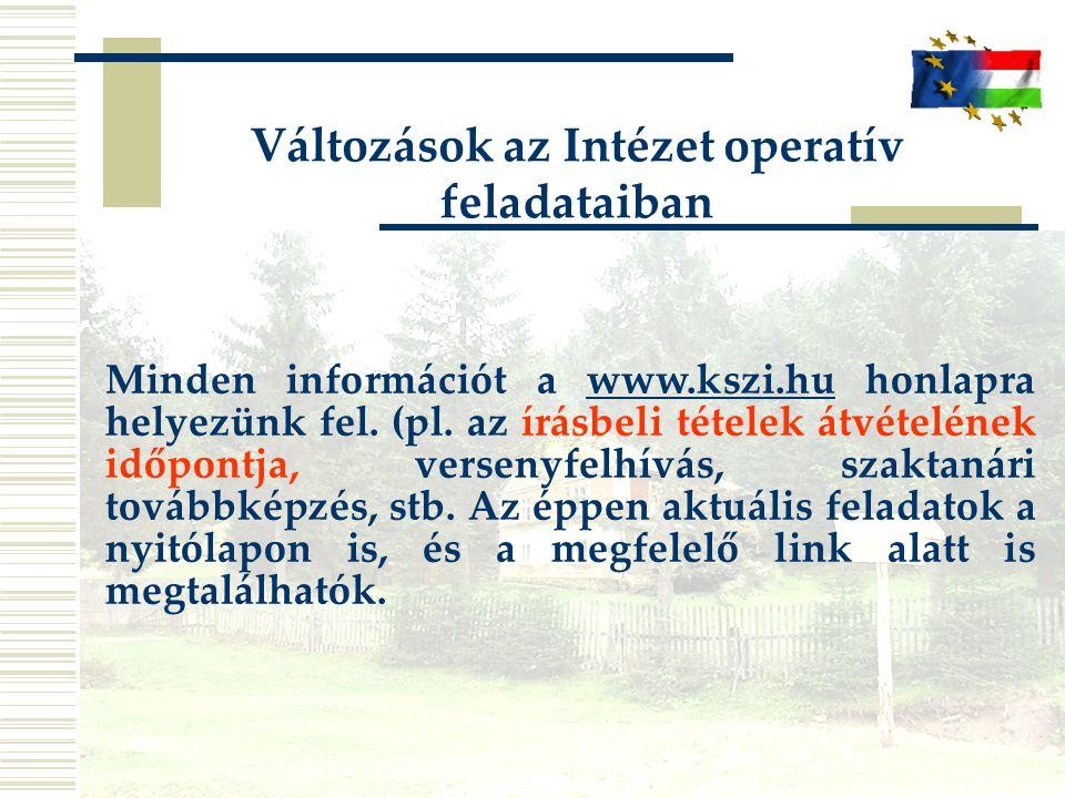 Változások az Intézet operatív feladataiban Minden információt a www.kszi.hu honlapra helyezünk fel. (pl. az írásbeli tételek átvételének időpontja, v