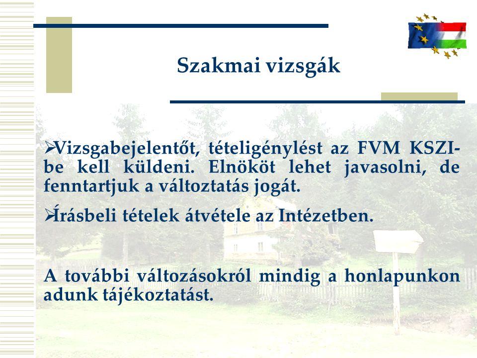 Szakmai vizsgák  Vizsgabejelentőt, tételigénylést az FVM KSZI- be kell küldeni. Elnököt lehet javasolni, de fenntartjuk a változtatás jogát.  Írásbe