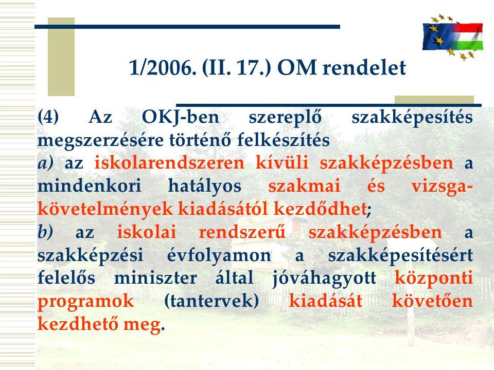 1/2006. (II. 17.) OM rendelet (4) Az OKJ-ben szereplő szakképesítés megszerzésére történő felkészítés a) az iskolarendszeren kívüli szakképzésben a mi